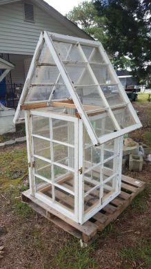 diy greenhouse with vintage reclaimed windows
