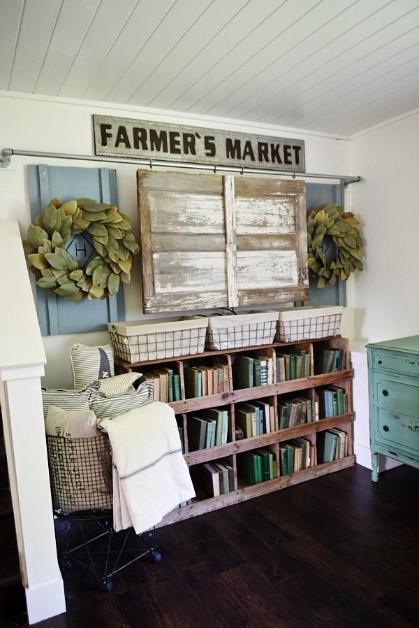 farmer's market bookshelf rustic style