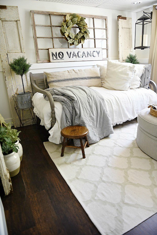 farmhouse guest bedroom vintage window