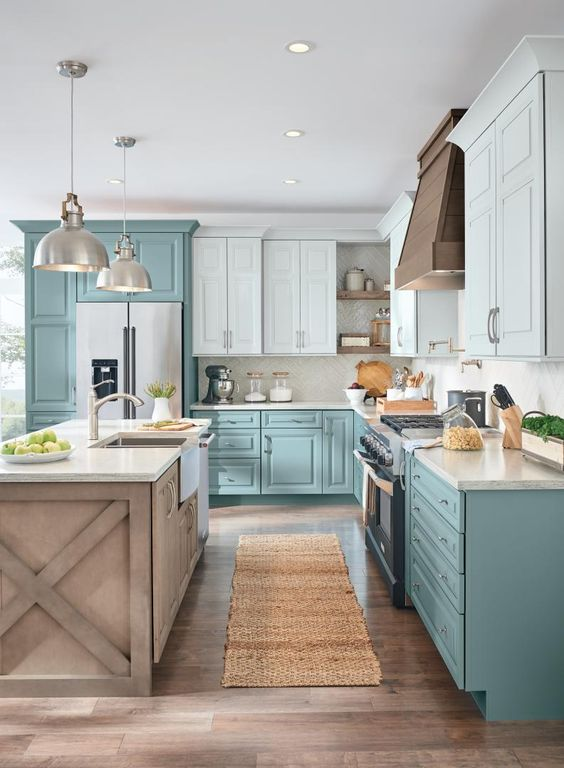 farmhouse kitchen blue