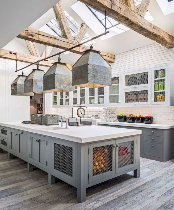 Farmhouse-Kitchen-Elements-reclaimed tin salvaged beams