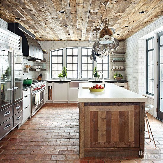 farmhouse kitchen reclaimed wood ceiling