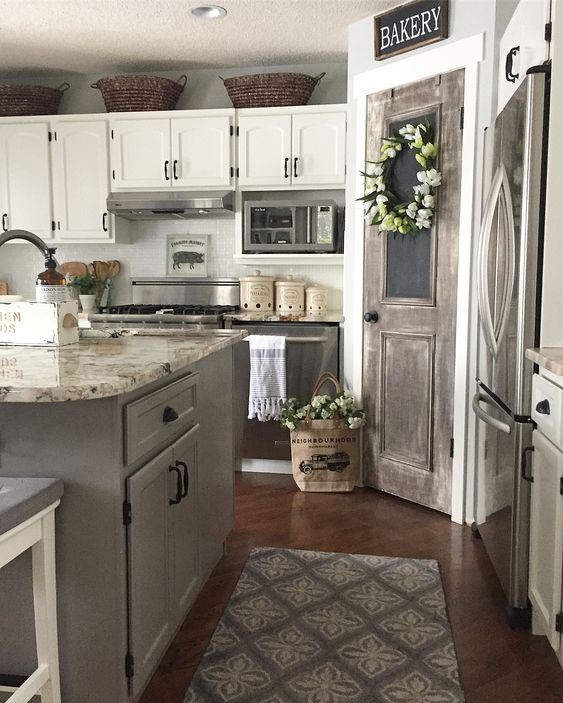 farmhouse kitchen rustic antique door