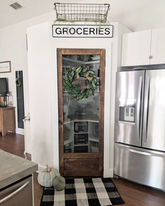 farmhouse kitchen vintage door groceries sign