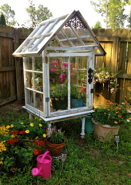 garden spring DIY project vintage windows reclaimed