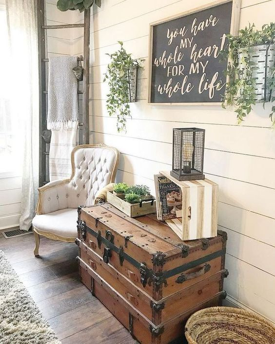 rustic farmhouse foyer ladder sign