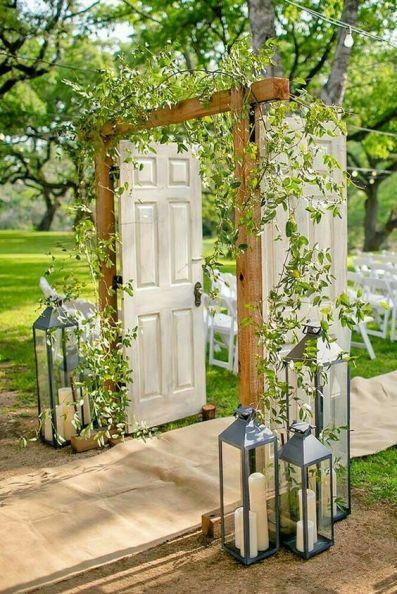 vintage doors garden entryway trellis vines rustic